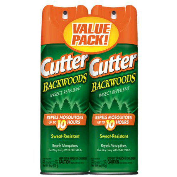 Cutter HG-96282 Backwoods Insect Repellent Aerosol, 6 Oz, 2 Pack