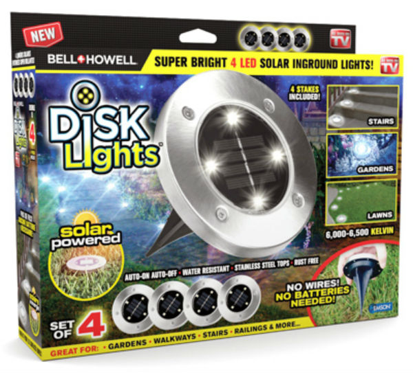 Bell-Howell 1998 Solar Powered LED Outdoor Disk Lights, As Seen On TV, 4 Pack