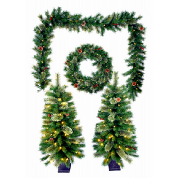 Puleo 236-TW8209/6 Mixed Needle Pre-Lit Christmas Greenery Set, 5-Piece