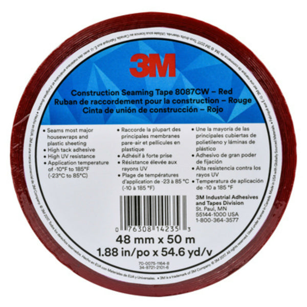 "3M® 8087CW Construction Seaming Tape, Red, 1.88"" x 54.6 YD"
