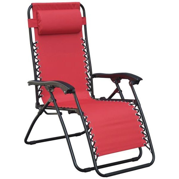 SeasonalTrends F5325O-1BKOX17 Oxford Adjustable Relaxer Chair w/Head Rest, Red