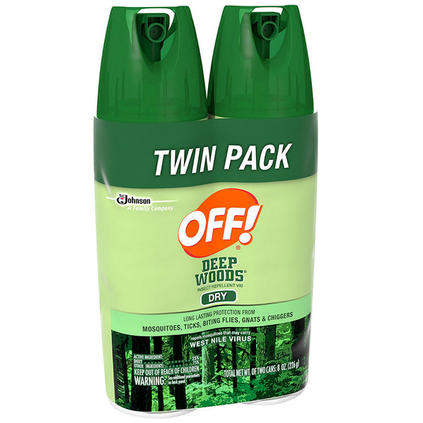 OFF 72131 Deep Woods Insect Repellent VIII (Dry) Aerosol Spray, 4 Oz, 2 Pack