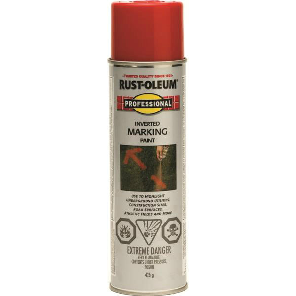 Rust-Oleum 242676 Professional  Inverted Marking Paint Spray, Safety Red, 15 Oz
