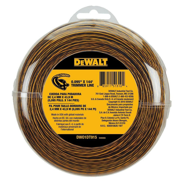 "DeWalt DWO1DT915 Spool Trimmer Line, 0.095"", 144'"