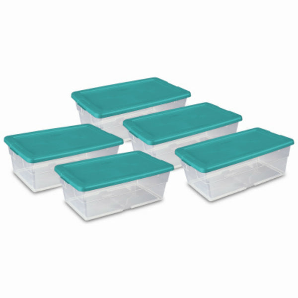 Sterilite 16433W06 Clear Base Storage Box with Green Lid, 6 Qt, 5 Pack