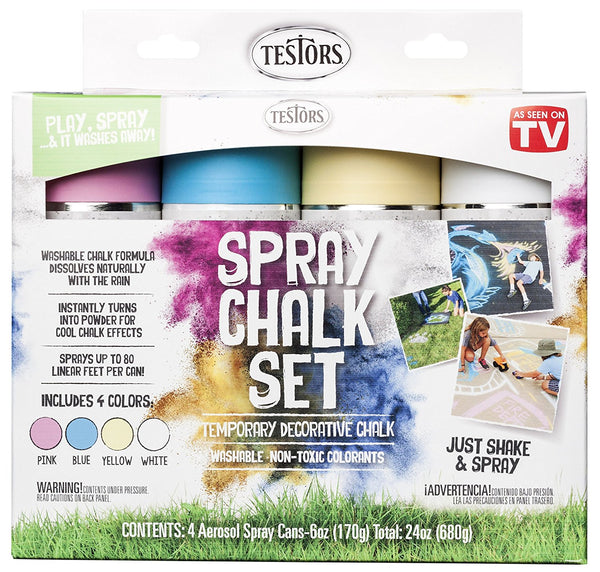 Testors 306006 Spray Chalk Set with 4 Aerosol Spray Cans, Assorted Colors