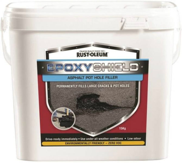 Rust-Oleum 257893 EPOXYSHIELD Asphalt Pothole Filler, Black, 15 Kg