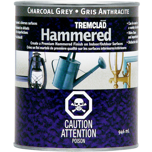 Tremclad 254835 Gloss Metal Hammered Finish, Charcoal Grey, 946 mL