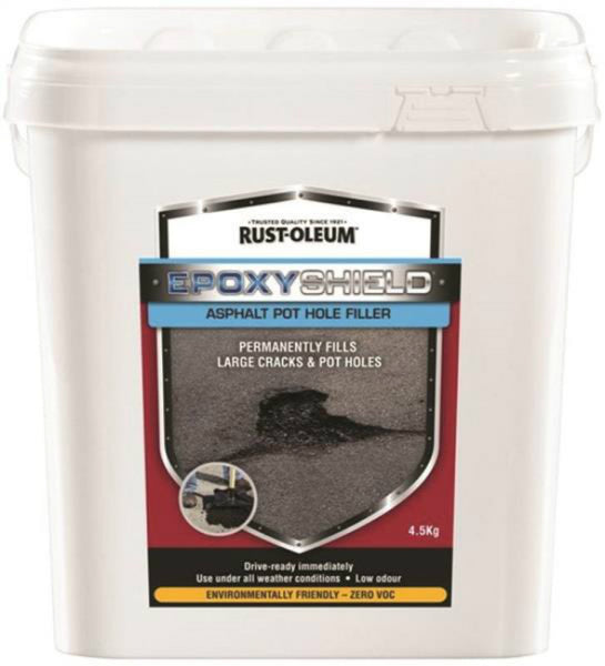 Rust-Oleum 257892 EPOXYSHIELD 2-In-1 Asphalt Pothole Filler, Black, 4.5 Kg