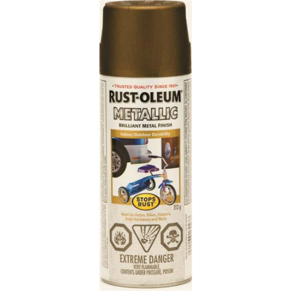 Rust-Oleum 242627 Stops Rust Outdoor Metallic Finish, Antique Brass, 312 g Aero