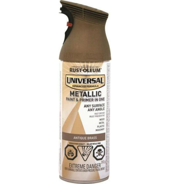 Rust-Oleum 264660 Universal Metallic Spray Paint, Antique Brass, 312 g Aero