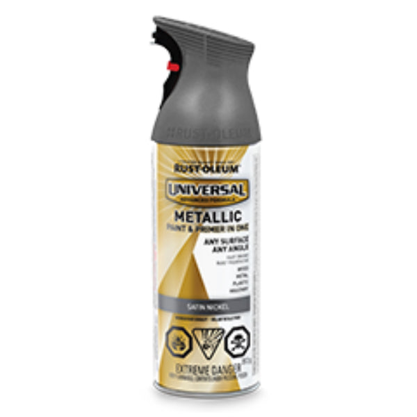 Rust-Oleum 253407 Universal Metallic Spray Paint, Satin Nickel, 312 g Aerosol