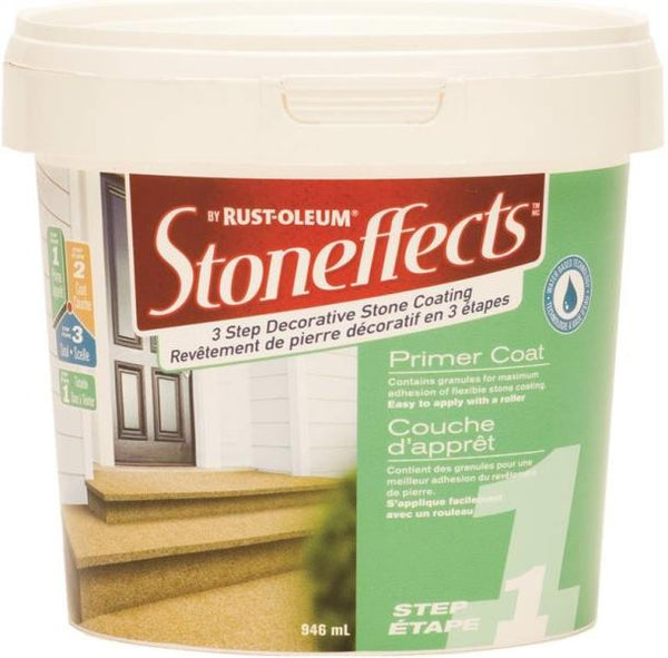 Rust-Oleum N5100145P Stoneffects Step-1 Roll-On Primer Coat, White, 946 mL