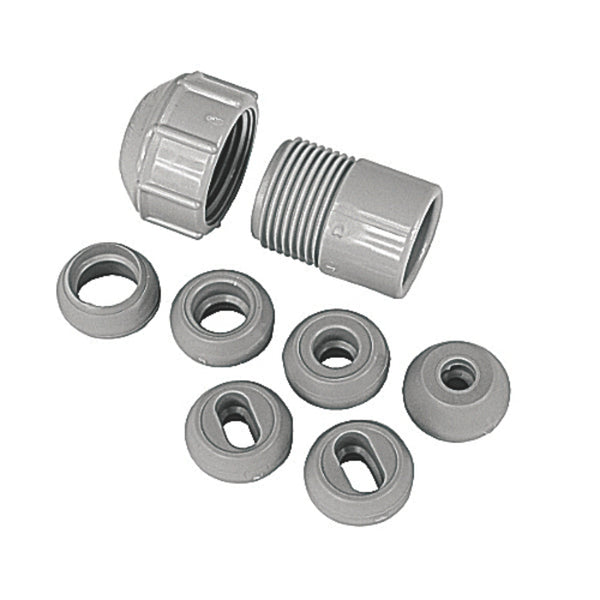Carlon SRC-075 Nonmetallic Unthreaded Strain Relief Connector, Gray, 3/4""