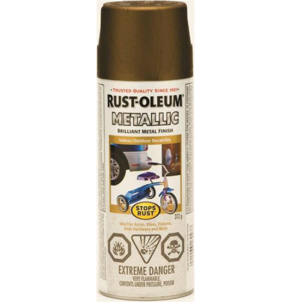 Rust-Oleum 242690 Stops Rust Outdoor Metallic Finish, Gold Rush, 312 g Aerosol