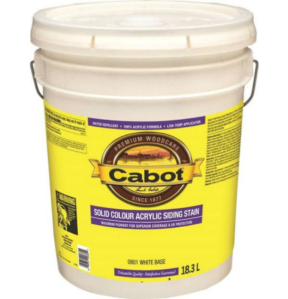 Cabot 0801C Solid Color Acrylic Siding Stain, White Base, 18.3 L