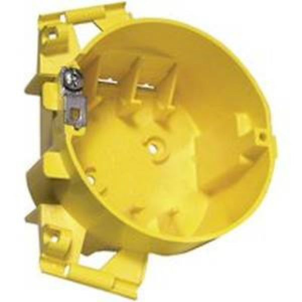 Hubbell 2008R Non-Metallic Round Ceiling Box, Yellow, 22 Cu.In.