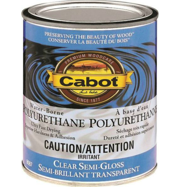 Cabot 8087C Interior Water-Borne Polyurethane, Clear Semi Gloss, 1/2 Pint