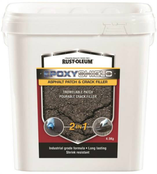 Rust-Oleum 257890 EPOXYSHIELD 2-In-1 Asphalt Patch & Crack Filler, Black, 4.5 Kg