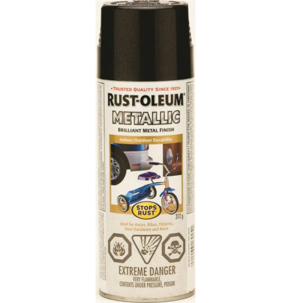 Rust-Oleum 242629 Stops Rust Outdoor Metallic Finish, Black Night, 312 g Aerosol