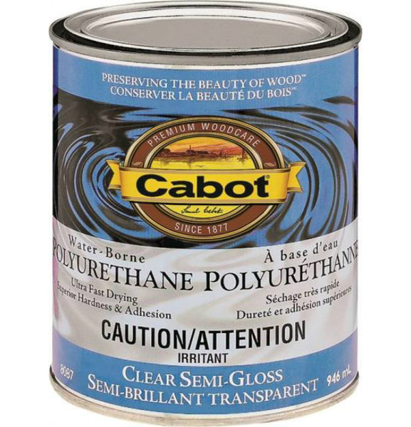 Cabot 8087 Interior Water-Borne Polyurethane, Clear Semi Gloss, 1 Qt