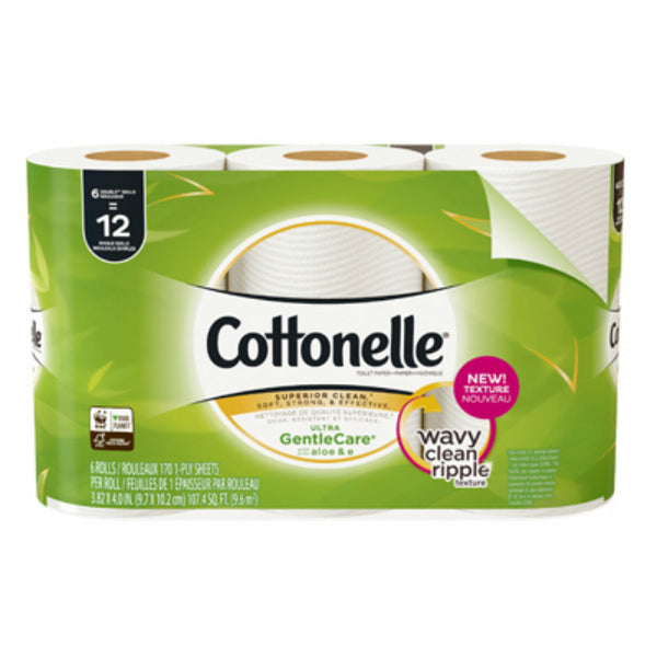 Cottonelle 47835 GentleCare Double Roll Toilet Paper, 1-Ply, 6 Pack