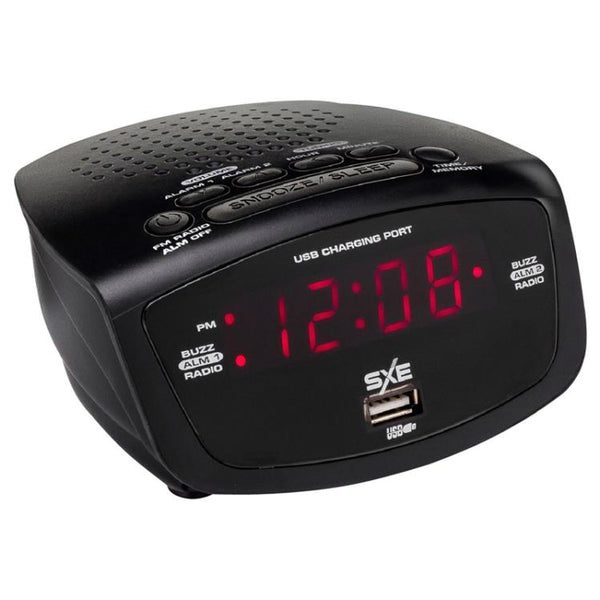 SXE Electronics SXE86001X Digital FM Radio Alarm Clock with USB Port