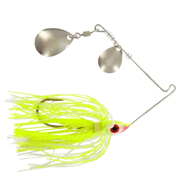 Wahoo 1696-0096 Double Colorado Chartreuse Shad Spinner Bait, 1/4 Oz