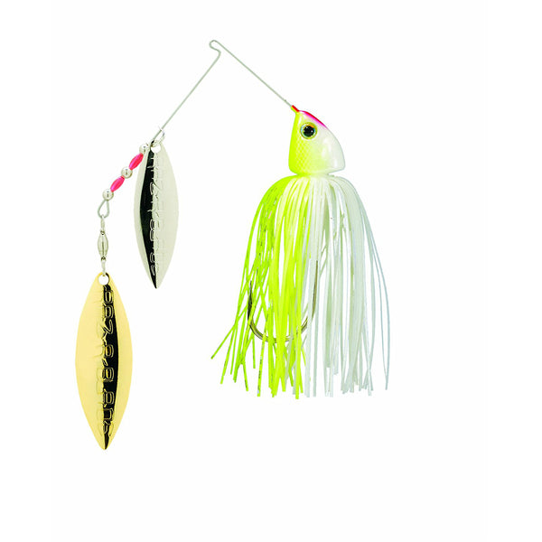 Strike King 0331-1978 Burner Spinnerbait w/Raz-R-Blade, Chartreuse/White, 1/4 Oz