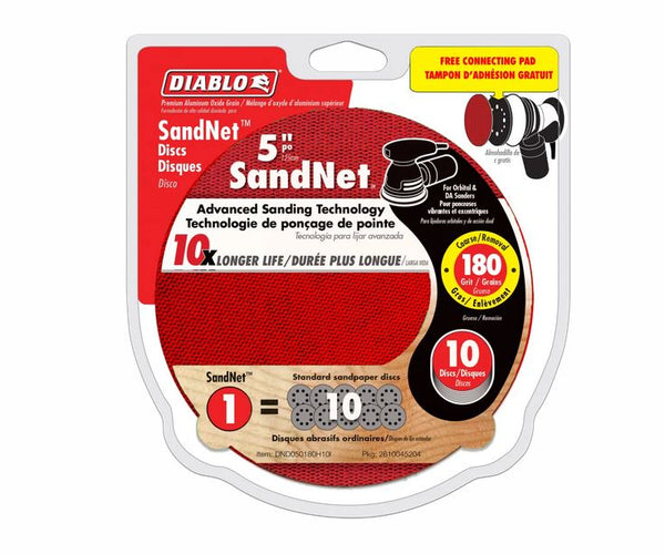 "Diablo DND050180H10I SandNet Disc with Connection Pad, 180-Grit, 5"", 10-Pack"