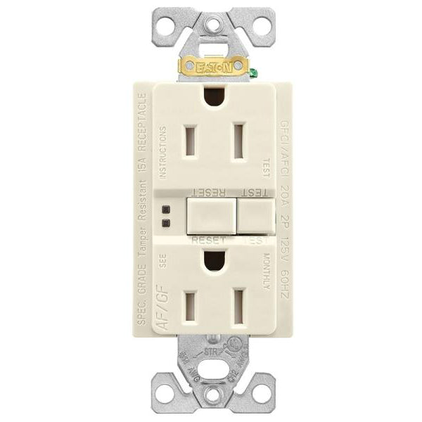 Eaton TRAFGF15LA-K-L Automatic AF / GF Receptacle, Light Almond, 15A, 125V