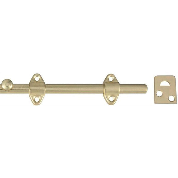 Stanley 763600 Satin Brass Tone Surface Bolt with Universal Strike, Steel, 6""