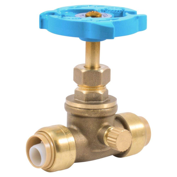 "SharkBite 24634LF Push-To-Connect Stop Valve with Drain, 1/2"" x 1/2"" MHT"