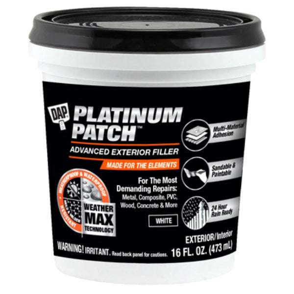 DAP 18741 Platinum Patch Advanced Exterior Filler, 16 Oz