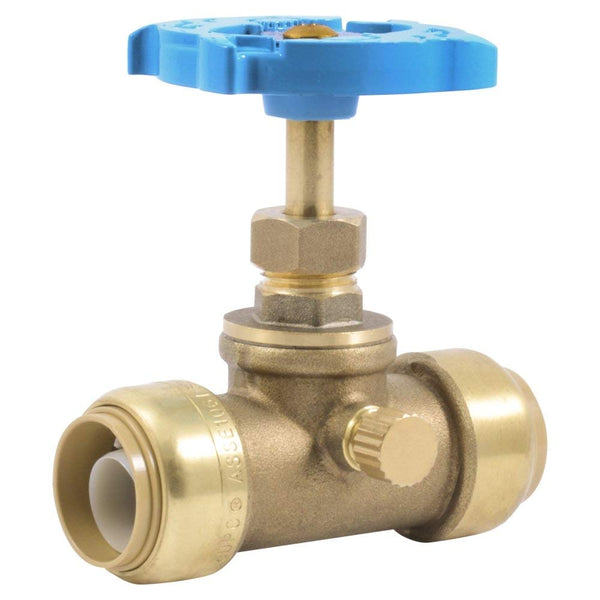 "SharkBite 24635LF Push-To-Connect Stop Valve with Drain, 3/4"" x 3/4"" MHT"