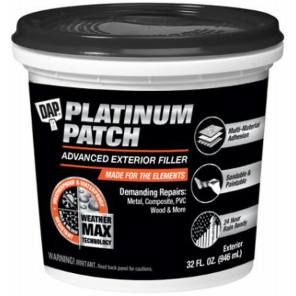 DAP 18787 Platinum Patch Advanced Exterior Filler, White, 32 Oz