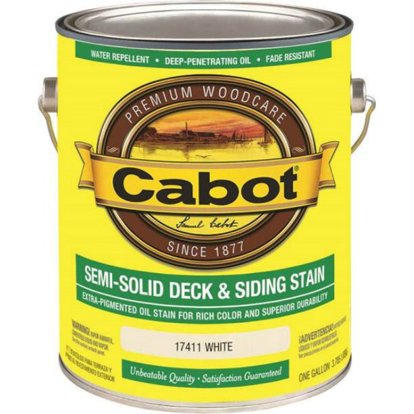 Cabot 17411 Semi-Solid Deck & Siding Stain, White, 1 Gallon