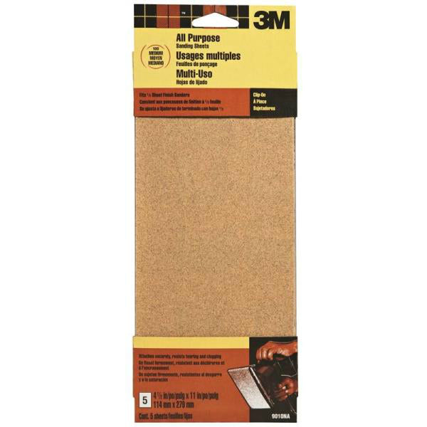 3M® 9010 Aluminum Oxide All Purpose Sanding Sheets, Medium, 100 Grit, 5-Piece