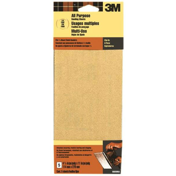 3M® 9009 Aluminum Oxide All Purpose Sanding Sheet, Fine, 150 Grit, 5-Piece