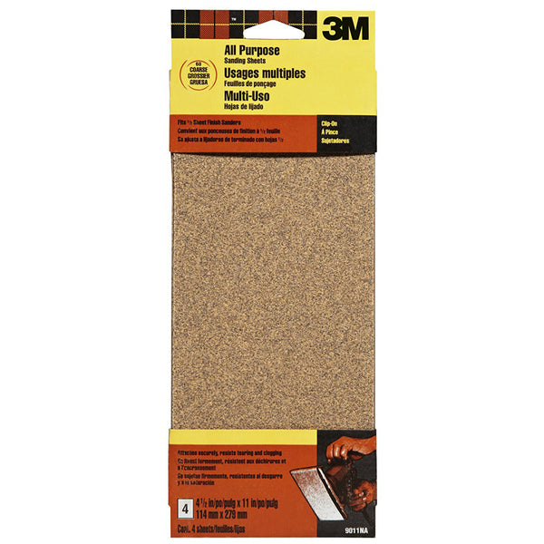3M® 9011 Aluminum Oxide All Purpose Sanding Sheet, Coarse, 60 Grit, 4-Pack