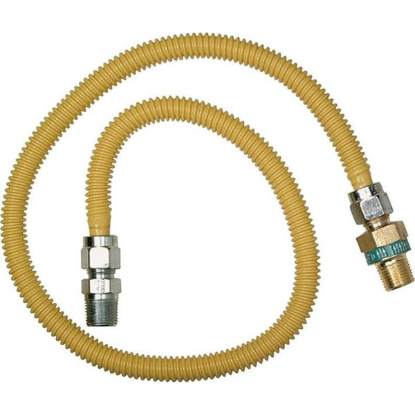 "BrassCraft CSSD44R-24P Safety+PLUS Straight Gas Connector, 24"", 1/2"" x 3/8"""