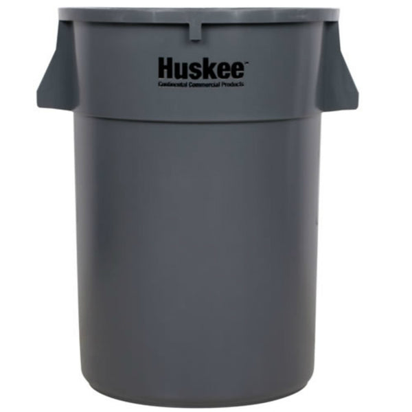 Huskee 3200GY Commercial Round Trash Container, Gray, 32 Gallon