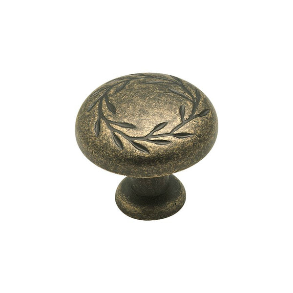 Amerock BP1581R2 Nature's Splendor Knob with Screw, Weathered Brass, 1-5/16""