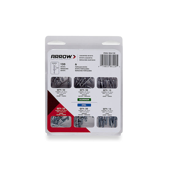 Arrow RK6120 Rivet Assortment Pack, Steel / Aluminum, 1/8""