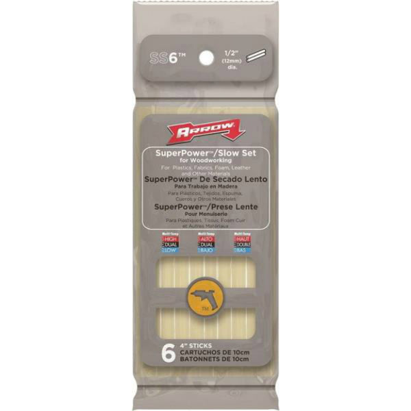 Arrow SS6 SuperPower / Slow Set Glue Stick for Woodworking, 4""