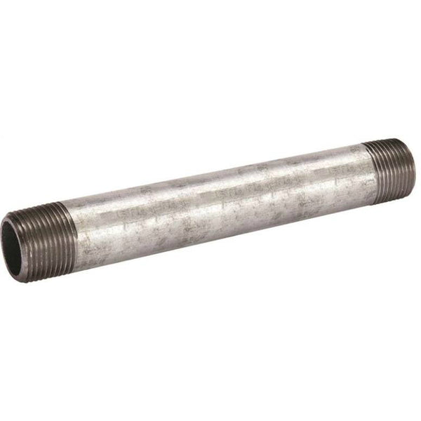"Southland 571-080BC Galvanized Threaded Pipe Steel Nipple, 4"" Dia, 8"" Length"
