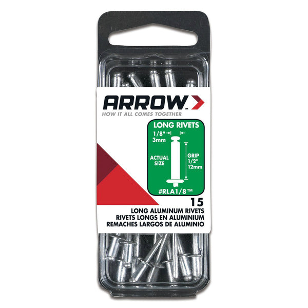 "Arrow RLA1/8 Long Aluminum Rivets, 1/8"", 1/2"" Length, 15 Piece"