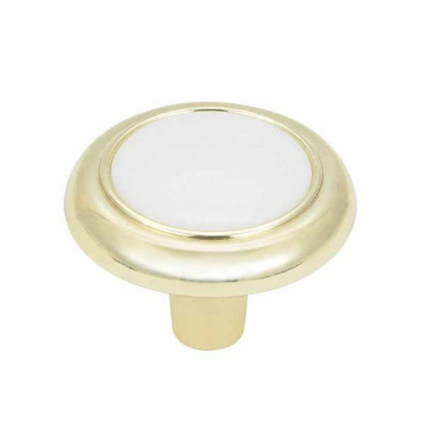 Amerock 244WPB Allison Value Round Knob with Screw, White/Polished Brass, 1-1/4""