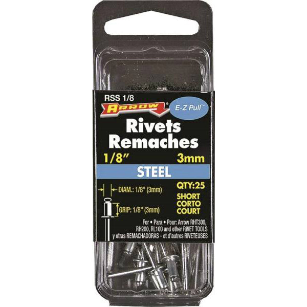 "Arrow RSS1/8 Short Steel Rivets, 1/8"", 1/8"" Length, 25 Piece"