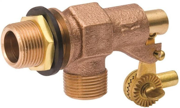 "Mueller 109-813 Tank Float Valve, 1/2"" Inlet, Male Inlet x Male Outlet, Bronze"